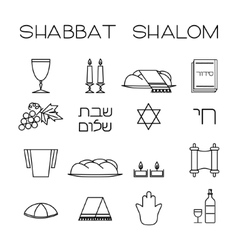 Shabbat symbols set vector