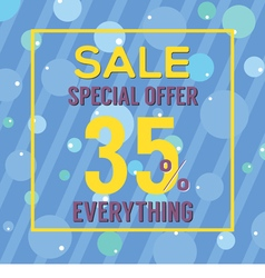 Special Offer 35 Percent On Colorful Blue Bubbles vector image