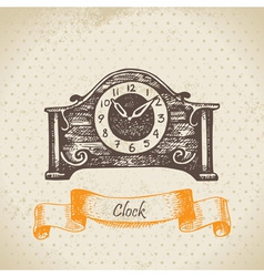 Vintage clock hand drawn vector image