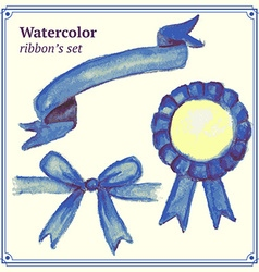 Watercolor blue ribbons set vector image vector image