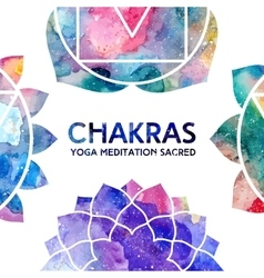 Watercolor chakras frame vector image vector image