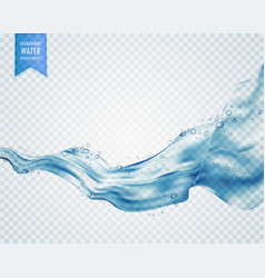 Wavy flowing water or blue liquid on transparent vector