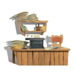 Workplace of writer with typewriter and books vector