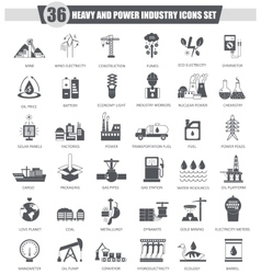 Heavy and power industry black icon set vector
