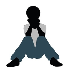 Boy silhouette in intimate talk pose vector