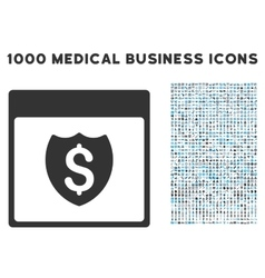 Financial shield calendar page icon with 1000 vector