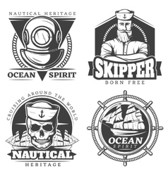 Old tattoo sailor naval label set vector