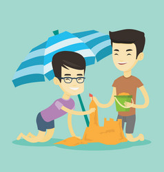 Two friends building sandcastle on beach vector