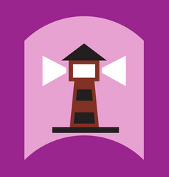 Flat icon design collection lighthouse and vector