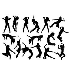 fun hip hop sexy dancer silhouettes vector image