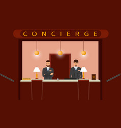 concierge desk service front view of hotel vector image