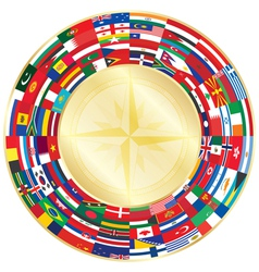 flags around compass vector image