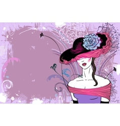 Lady in hat with flower - horizontal vector