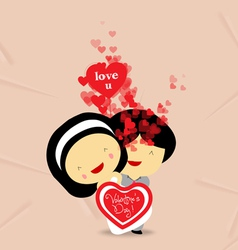 Valentines day sweet love couple with hearts vector