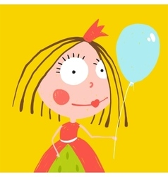 Girl princess with balloon and crown in beautiful vector
