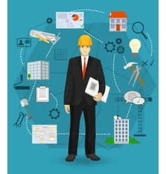 Builder man manager worker concept with flat icons vector