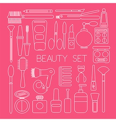 Beauty set icons in pink color vector