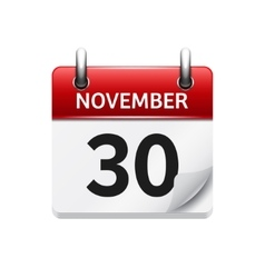 November 30 flat daily calendar icon vector