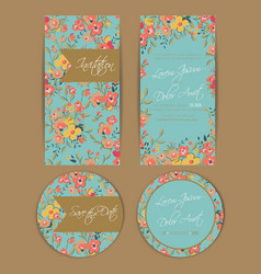 Wedding cards set blue with flowers vector