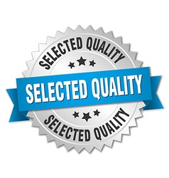 Selected quality 3d silver badge with blue ribbon vector