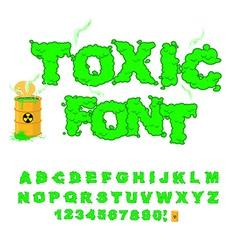Toxic font green alphabet nuclear waste venomous vector