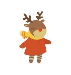 Girl deer in red warm coat childish vector