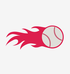 baseball ball with fire flame icon sport vector image vector image