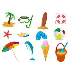 beach holidays icon set vector image vector image