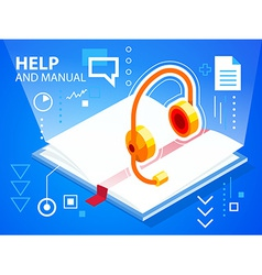 Bright help book and head phone on blue back vector