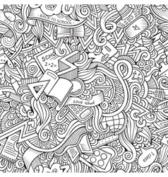 Cartoon doodles school seamless pattern vector