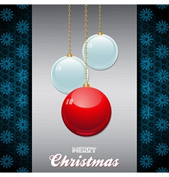 Christmas baubles over brushed metallic panel with vector image vector image