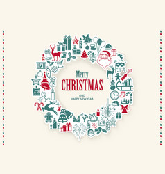 christmas wreath background vector image