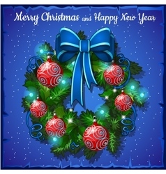 Christmas wreath with red balls and blue bow vector image