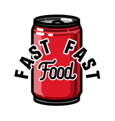 color vintage fast food emblem vector image
