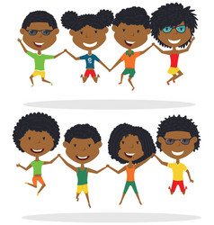 cute african-american couples jumping outdoor vector image