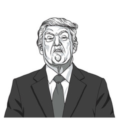 donald trump portrait black and white caricature vector image vector image