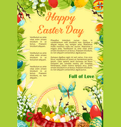 Easter day egg hunt poster template design vector