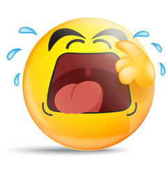 Emoticon crying out loud vector image