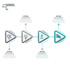 Four triangular elements or arrows with pictograms vector