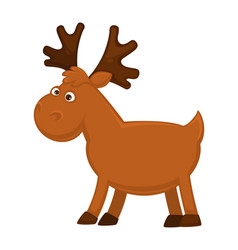 Funny little moose with big branchy horns and vector