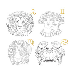 hand drawn zodiac sign leo gemini virgo canc vector image