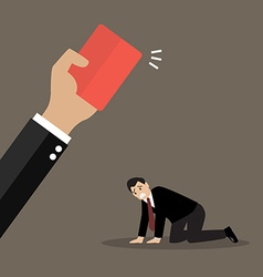Hand of boss showing a red card to his employee vector image vector image