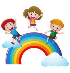 happy children on colorful rainbow vector image