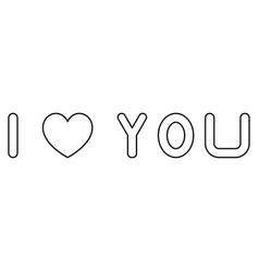 i love you the black color icon vector image vector image