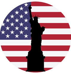 Liberty statue and usa flag vector image vector image