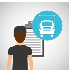 Man delivery checking transportation logistic vector