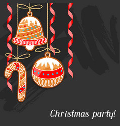 Merry christmas greeting card with hanging vector