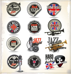 Music stamps and labels vector