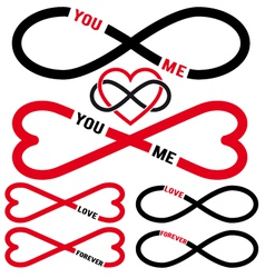 Never ending love red infinity hearts set vector