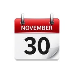 November 30 flat daily calendar icon vector